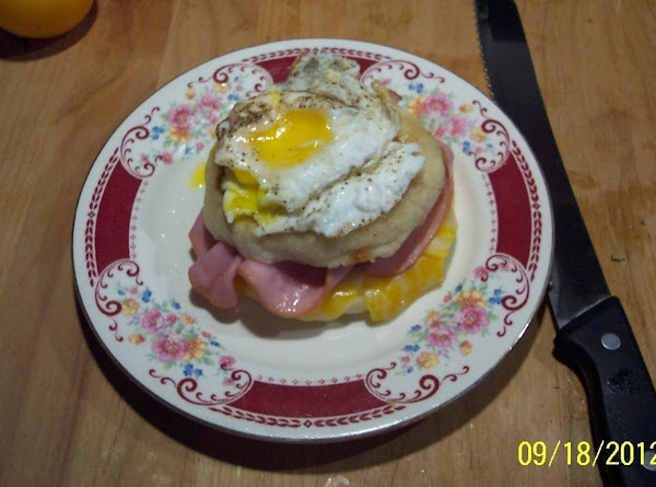Ham & Cheese Grilled English Muffin W/an Egg Crown Recipe