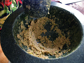 Photo: pounded paste of garlic, cilantro roots and white peppercorns
