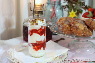 Photo: My yogurt and fruit smoothies were served in mason jars.  I went with a completely vintage theme for my tablescape.