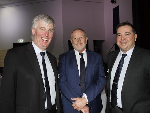 Head of the Inland Rail project, ARTC Group Executive Interstate Network Peter Winder, Narrabri Chamber of Commerce president Russell Stewart and Narrabri Shire's Director Development and Economic Growth Tony Meppem.