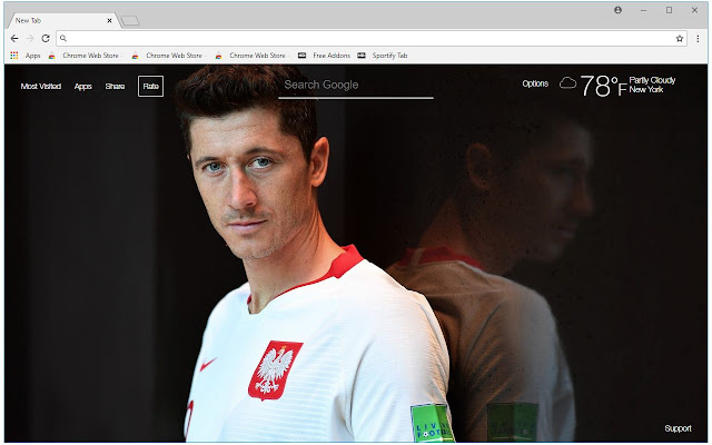 Robert Lewandowski HD Wallpaper New Tab