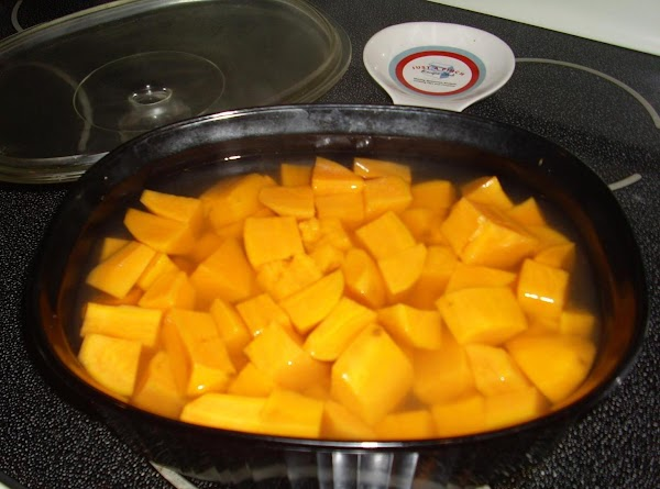 Place the sweet potatoes in a shallow 3 qt microwave-safe dish; add water. Cover...