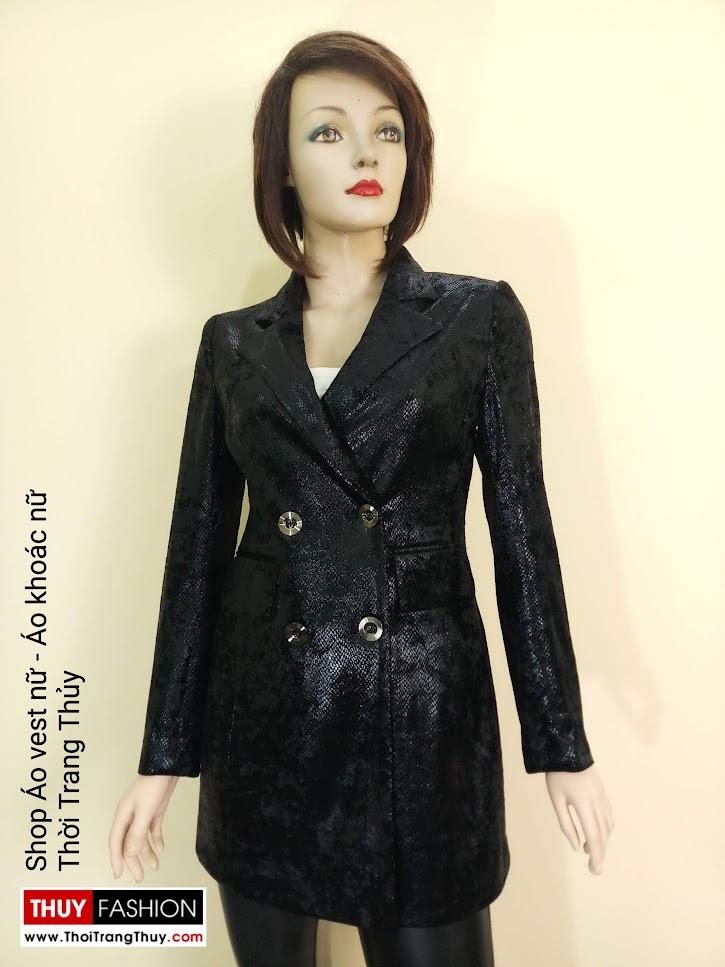 Áo vest nữ vải nhung ép da V667 tại Hà Nội