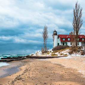 Winter Lighthouse by Darrin Ralph - Buildings & Architecture Other Exteriors ( clouds, lake michigan, lighthouse, beach )