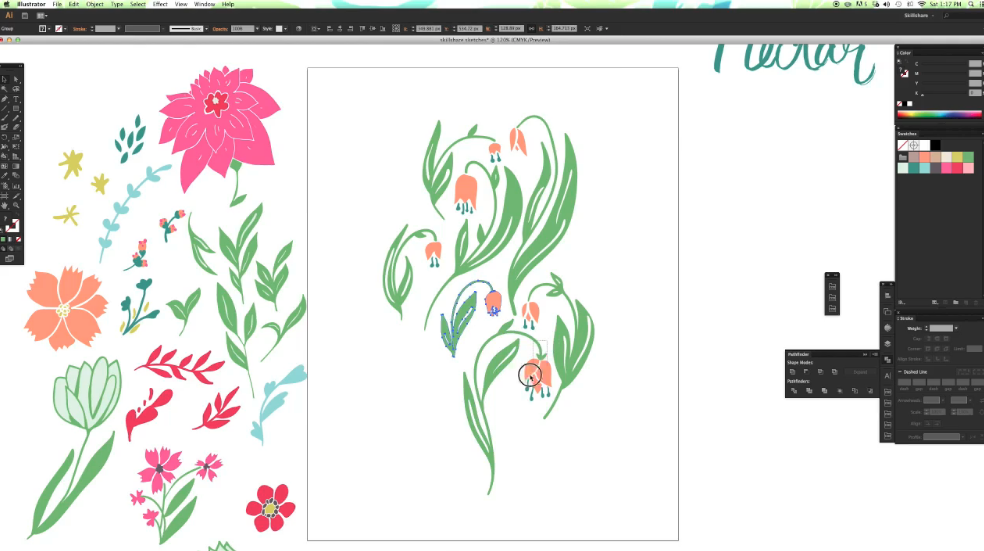 flowers in adobe illustrator