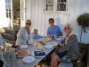 Photo: First dinner together for a long time. Salmon and prawns and salad! Tonje, Oscar, Martin and Diana.