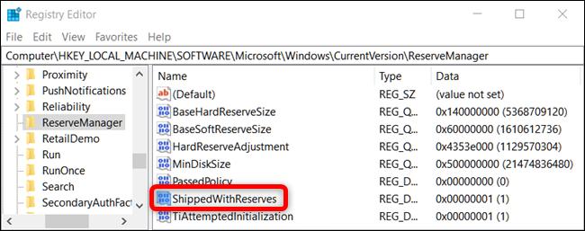 Windows 10 ShippedWithReserves registry key