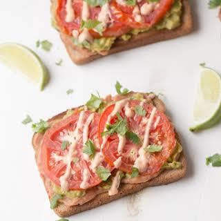 Avocado Tomato Toast (vegan + healthy fats).