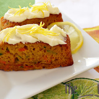 Carrot Zucchini Bars with Lemon Cream Cheese Frosting