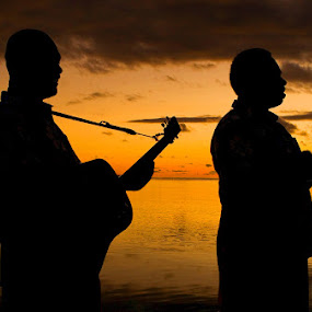 by Rob Rickman - People Musicians & Entertainers ( water, sunset, guitar, fiji, serenaders )