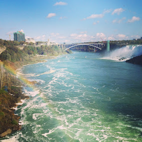view of the American Falls by Melissa Poling - Instagram & Mobile iPhone ( american falls, stock, niagara falls, pretty, rainbow )