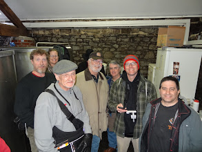 Photo: Here the group takes a short tour of the original Thornbridge brewery located behind the Thornbridge Hall manor house.