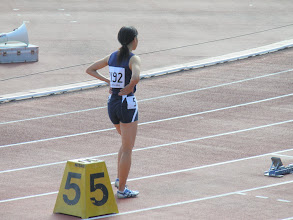 Photo: あさみちゃんの400m。予選トップ通過でした。