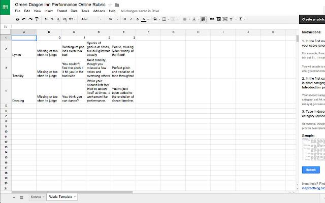 Online Rubric - Google Sheets add-on