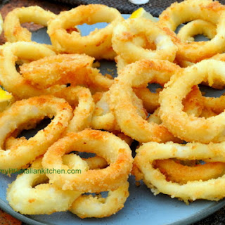 Light Squid Rings (calamari) in the oven.