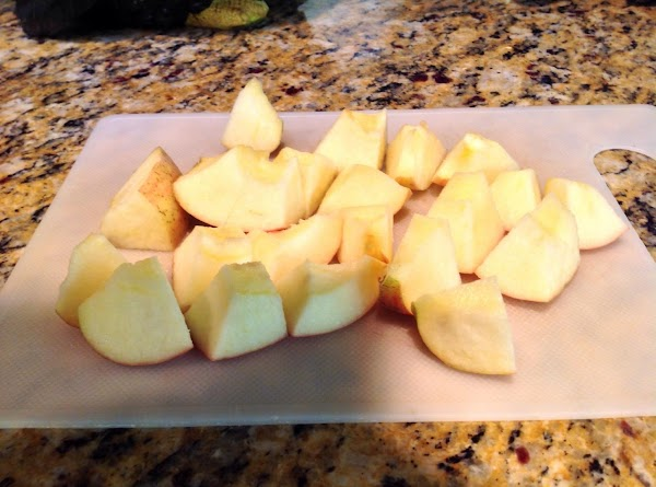 Add cut up apples.