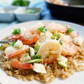 Spicy Shrimp, Avocado & Feta Bowls.