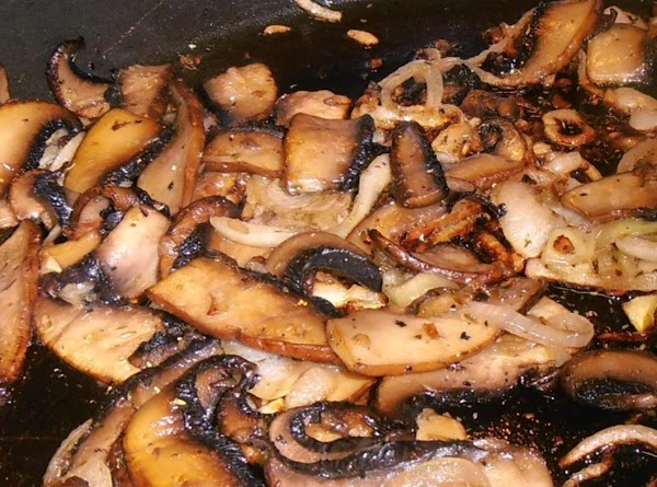 meanwhile, add evoo to large heated pan.  sauté mushrooms until golden brown. ...