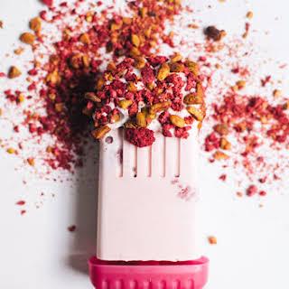 Raspberry and Cream Popsicles.