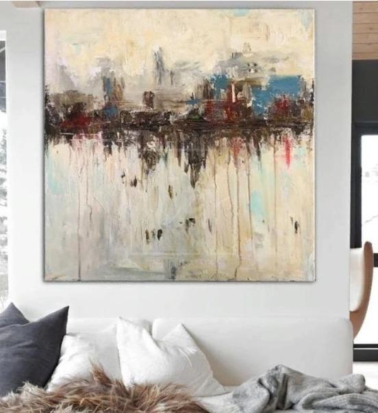 Large original city abstract artwork