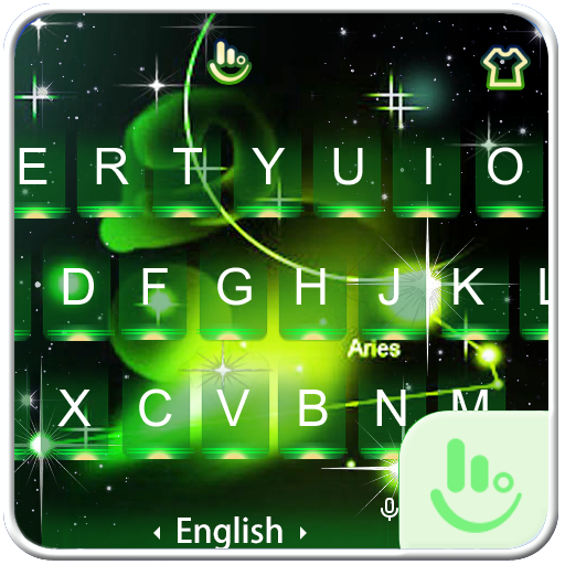 Neon Green Galaxy Keyboard Theme