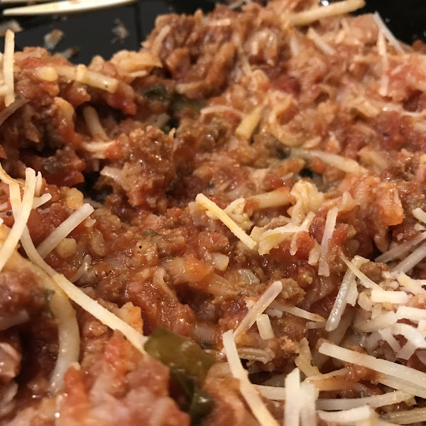 Spaghetti with meat sauce (I added some shredded Parm cheese)