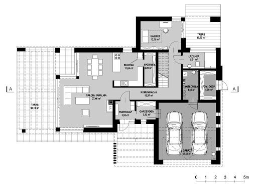 New House 7 - Rzut parteru - wariant