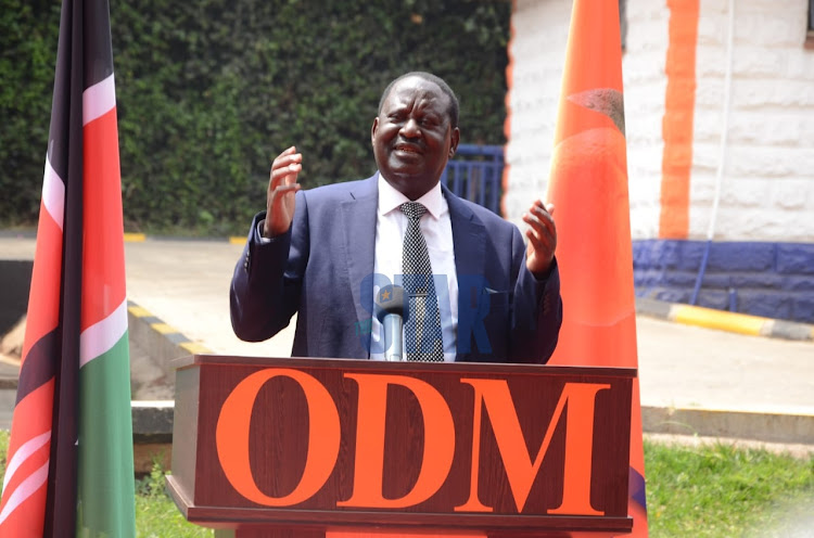 ODM party leader Raila Odinga during the swearing in of NEC and NDC officials at Chungwa house, Nairobi on August 13th 2020.
