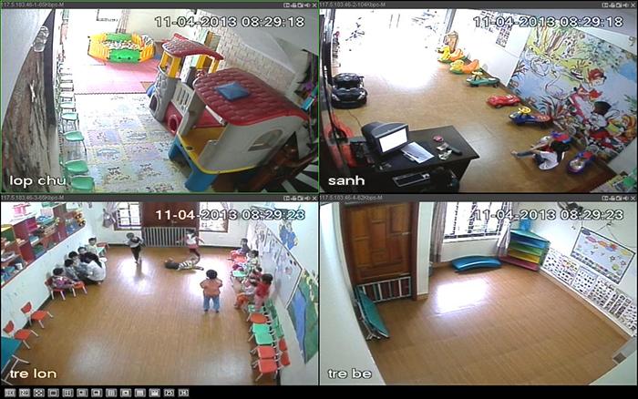Một số khung hình lắp camera tại trường mầm non