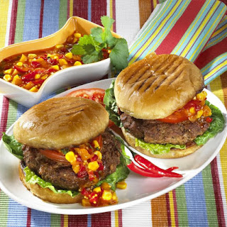 Burgers with Sweet Pepper Relish.