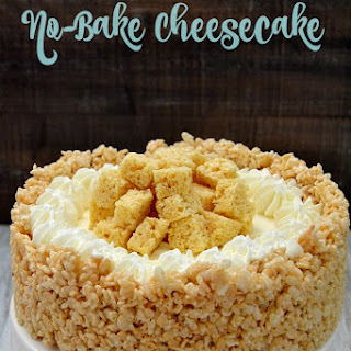 Rice Krispy Treat No Bake Cheesecake.