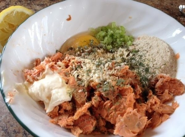 Drain salmon.  Remove skin and bones, juice and discard. Combine salmon and other...
