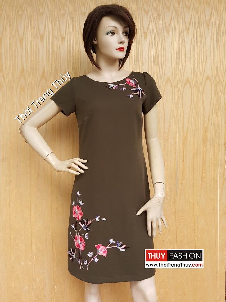 Váy suông công sở đính hoa thêu thủ công V447 Thời Trang Thủy