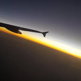 Horizon by Riddhima Chandra - Uncategorized All Uncategorized ( plane, horizon, flying, sunset, wing,  )