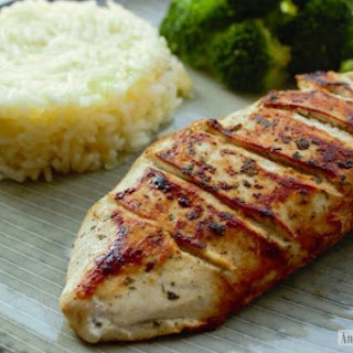 Lemon and Garlic Chicken Breasts with Rice Pilaf