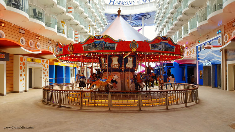 The colorful, handcrafted Carousel in the Boardwalk neighborhood of Harmony of the Seas.