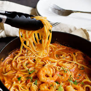 Easy Spicy Shrimp Marinara Linguine.