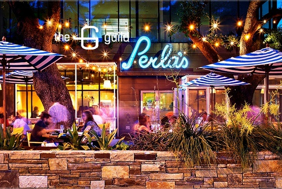 A look at Perla's patio at dusk.