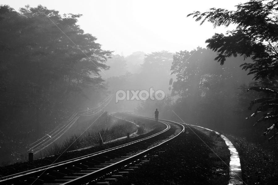 sunrise on railroad by Dhannie Setiawan - Landscapes Sunsets & Sunrises ( railroad, sunrise, blackwhite, pwcbwlandscapes, alone,  )