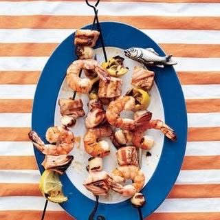 Shrimp, Salmon, and Scallop Kebabs.