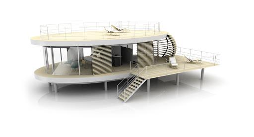 Modèle elliptique toit plat terrasse haute et terrasse basse