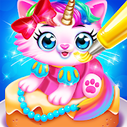 Cute Pet Dress Up Cakes - Rainbow Baking Games
