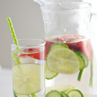Strawberry Lime Cucumber Infused Water.