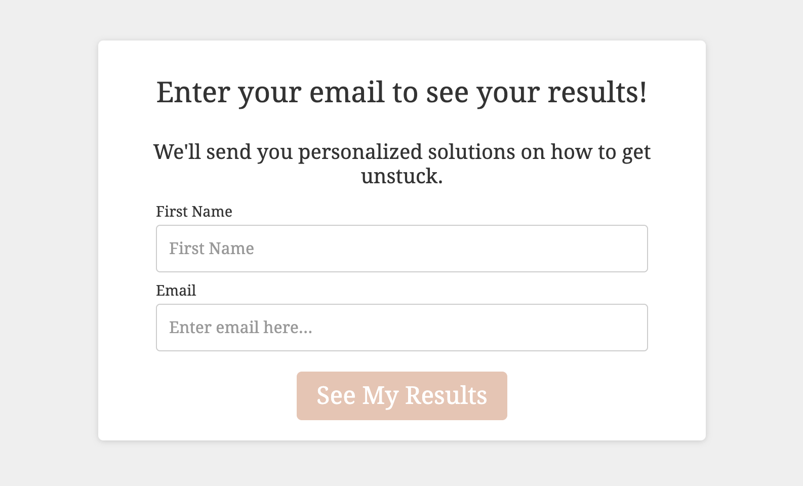 email opt-in form for quiz