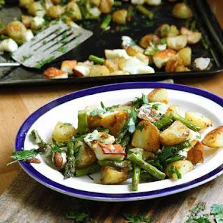 Asparagus, New Potatoes, Halloumi.