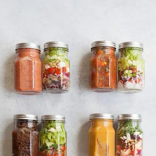 4 Soup and Salad Mason Jar Lunch Combos.