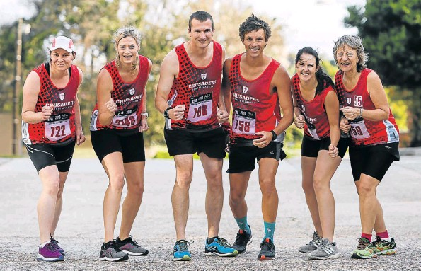 Gearing up for next weekend's Aspen Pharmacare PE City Marathon are Crusaders members, from left, Christine Roberts, Tamara Klos, Shaun Roberts, Werner de Lange, Kat Flanagan and Odette Vosloo