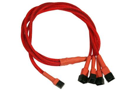 Forgrener, 3 pins vifte til 4x3 pins vifte, kabelstrømpe, 60 cm, rød