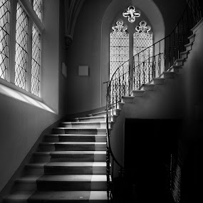 Stairway to heaven by Andrew Magee - Black & White Buildings & Architecture ( interior, stairs, window, stairway, black & white, light )