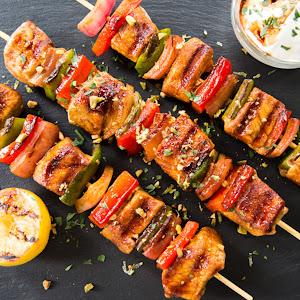 Moroccan Spiced Pork Kebabs with Pomegranate Glaze & Herby Yogurt